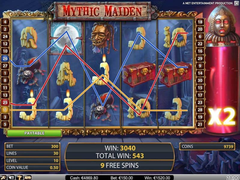 mythic maiden slot scrennshot